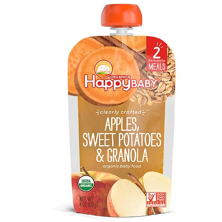 Happy Baby Clearly Crafted Organic Food Pouch Apples, Sweet Potatoes, Granola - 4 oz.