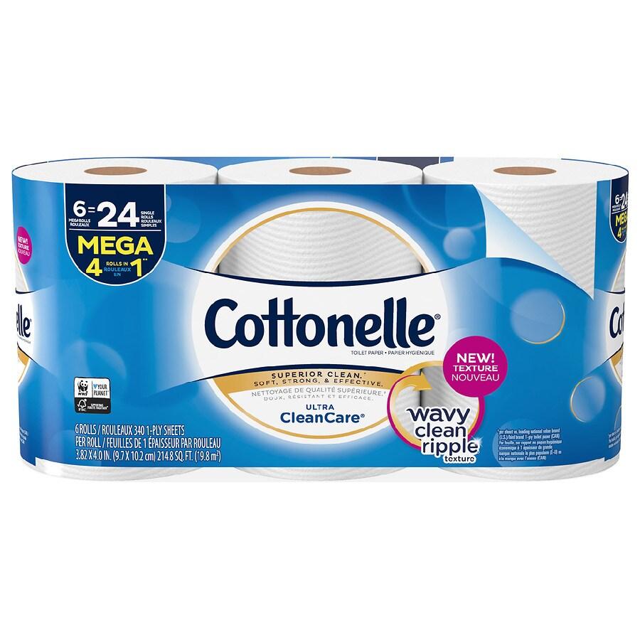 Cottonelle Ultra CleanCare Toilet Paper, Strong Bath Tissue, Mega ...