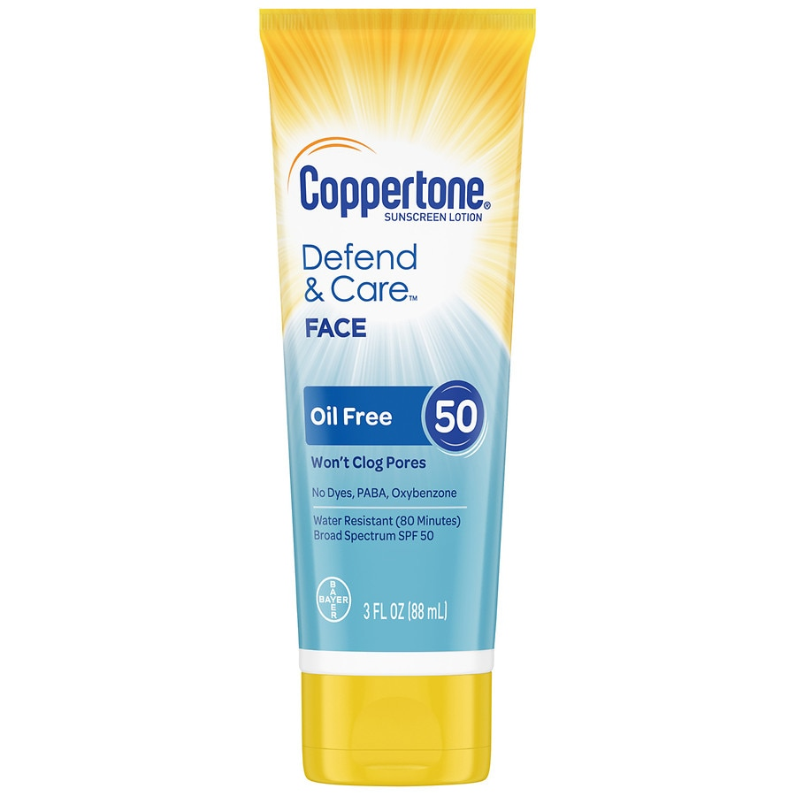 8bedb947b Coppertone Defend & Care Oil Free Sunscreen Face Lotion Broad Spectrum SPF  503 oz