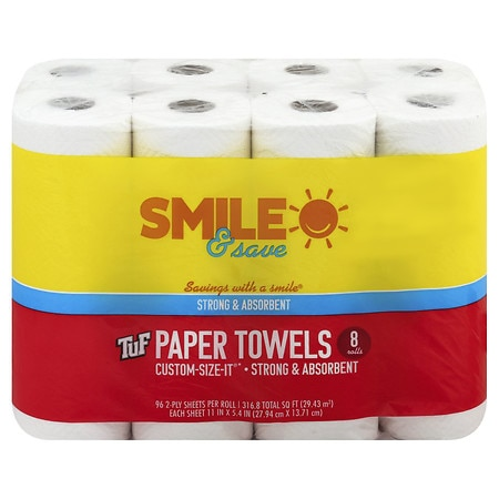 Smile & Save Paper Towels 96 Sheets - 96 ea x 8 pack