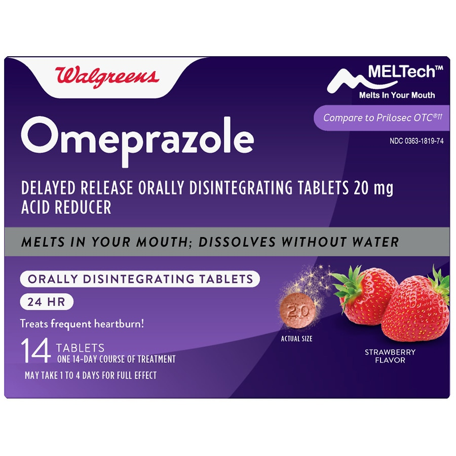 Walgreens Omeprazole Delayed Release Orally Disintegrating Tablets 20 Mg Acid Reducer Strawberry Walgreens