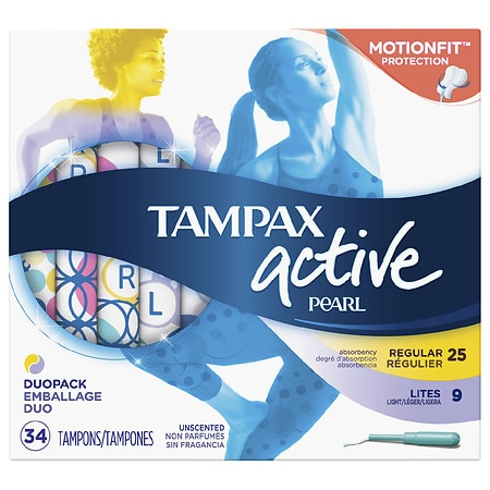 Tampax Pearl Active Plastic Tampons, Duo-Pack, Light/Regular Absorbency Unscented - 34 ea