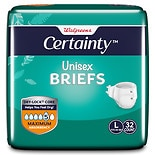 Walgreens Certainty Unisex Briefs, Maximum Absorbency Large