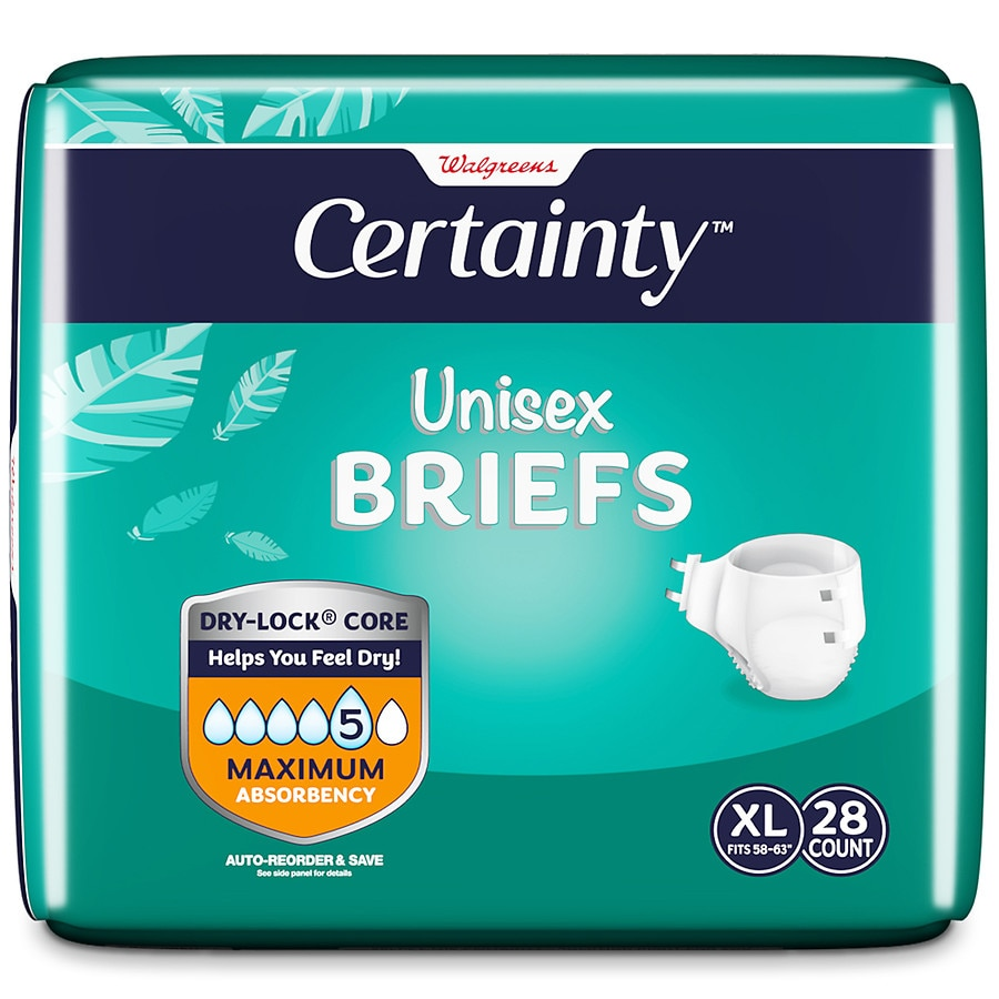 c9c2ae438808 Walgreens Certainty Unisex Briefs X-Large | Walgreens