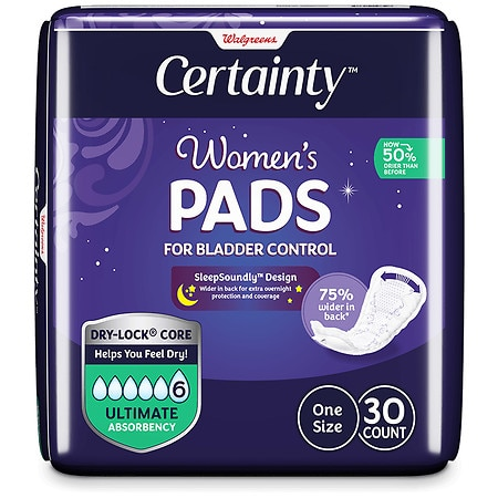 Walgreens Certainty Women's Overnight Bladder Control Pads, Ultimate Absorbency - 30 ea