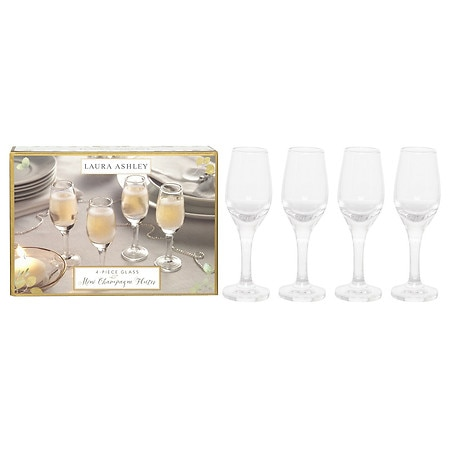 Laura Ashley Mini Champagne Flutes - 4 ea