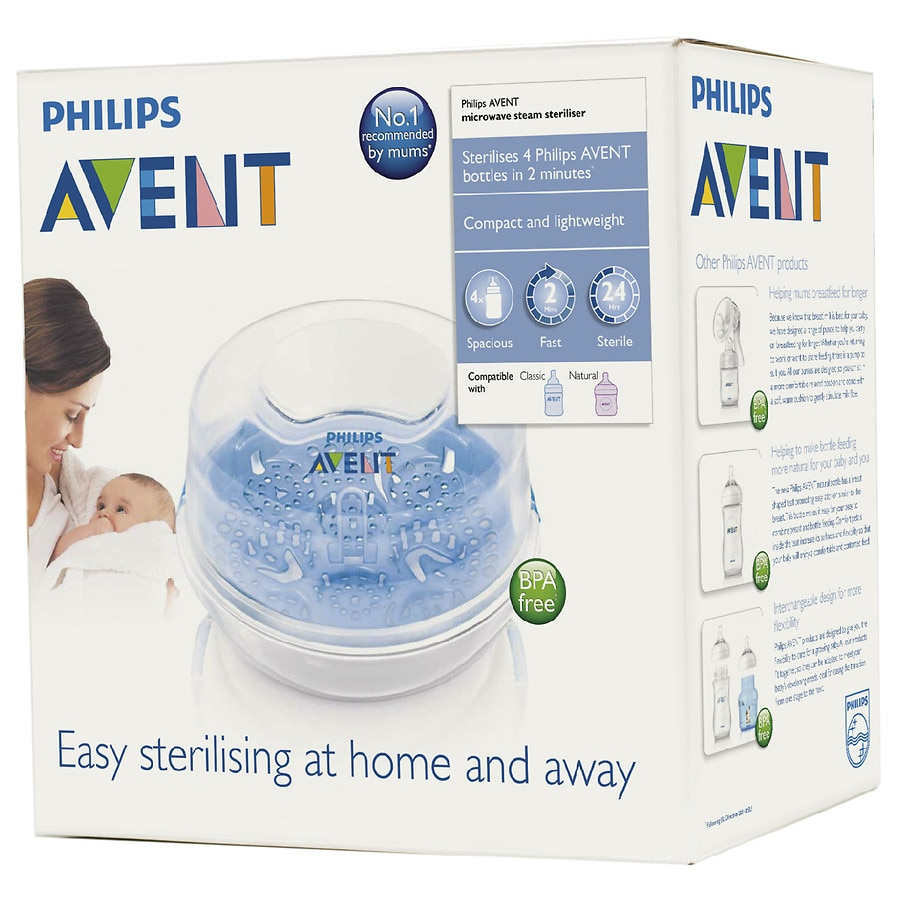 Steam AVENT Microwave 3 in 1 Sterilizer 4 Bottle Electric Baby Equipment Supply