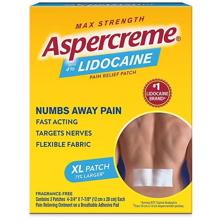 Aspercreme Odor Free Max Strength Lidocaine Patches X-Large - 3 ea