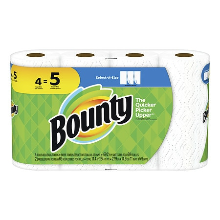 Bounty Select-A-Size Paper Towels Large Rolls - 4 ea