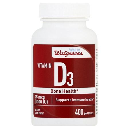 Walgreens Vitamin D3 1000 IU Softgels - 400 ea