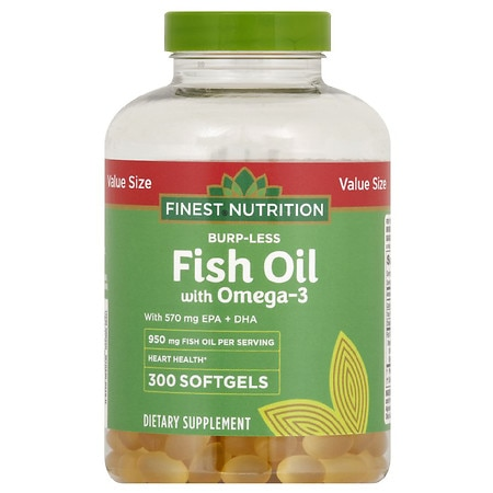 Finest Nutrition Burp-Less Fish Oil 950 mg with 600 mg of Omega 3 Softgels - 300 ea