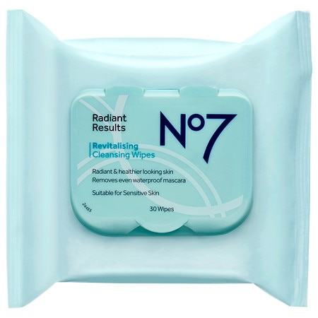 No7 Radiant Results Revitalizing Cleansing Wipes - 30 ea
