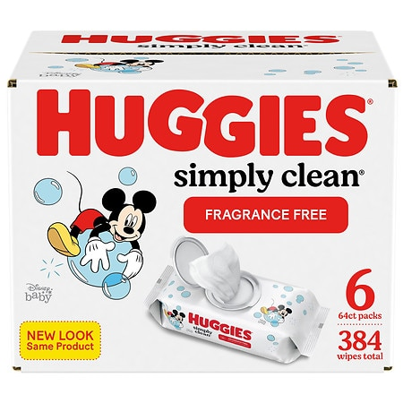 Huggies Simply Clean Fragrance-free Baby Wipes, Soft Pack, Alcohol-free Fragrance-free - 384 ea