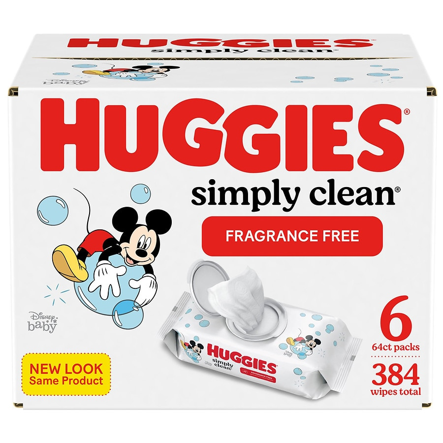 Soft Pack 6 Pack Huggies Simply Clean Fragrance-free Baby Wipes 384 Count