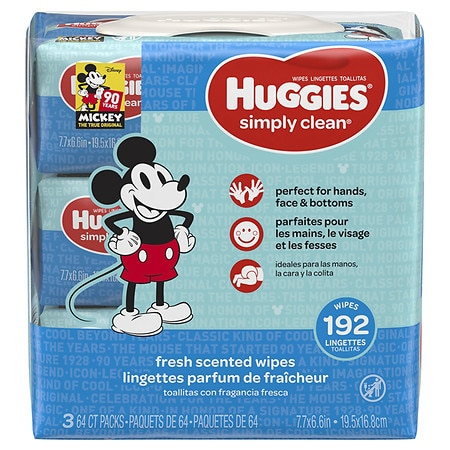 Huggies Simply Clean Fresh Scented Baby Wipes, Soft Pack, Alcohol-free Fresh Scented - 192 ea