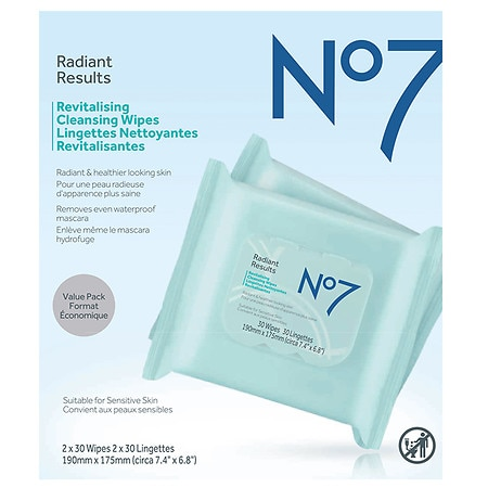 No7 Radiant Results Revitalizing Cleansing Wipes - 60 ea