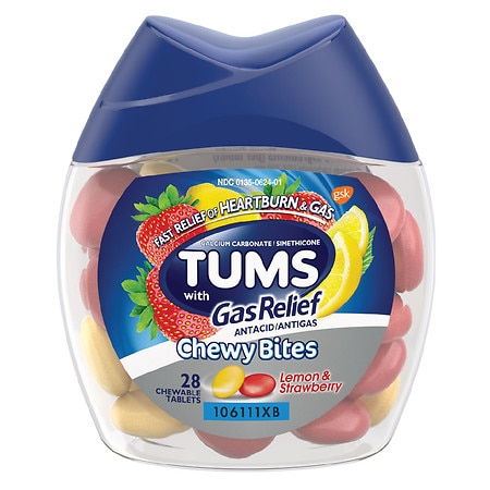 Tums Chewy Bites Antacid with Gas Relief Hard Shell Chews Lemon & Strawberry - 28 ea