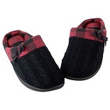 totes Women's Sweater Knit Memory Foam Slipper Black/ Red