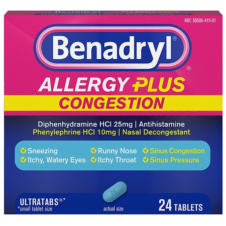 Benadryl Allergy Plus Congestion Ultratabs Tablets - 24 ea