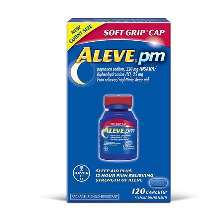 Aleve PM Pain Reliever/Nighttime Sleep-Aid Caplets, Soft Grip Cap - 40 ea