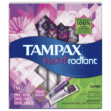 Tampax Pocket Radiant Compact Plastic Tampons, Unscented - 16 ea