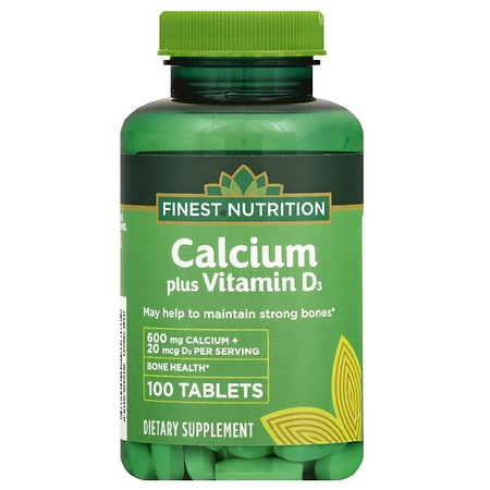 Finest Nutrition Calcium 600mg with D3 - 100 ea