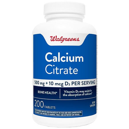 Walgreens Calcium Citrate Regular Strength + Vitamin D3 Tablets
