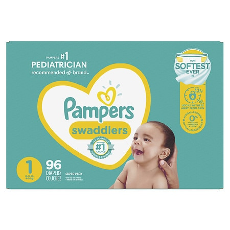 Pampers Diapers Size 1 - 96.0 ea