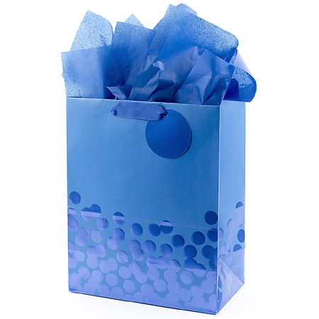 Hallmark Large Gift Bag With Tissue Paper Foil Dots Blue