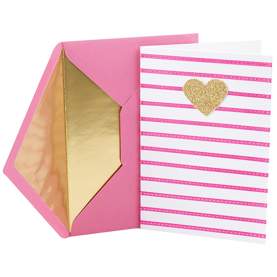 Hallmark Signature Birthday Greeting Card For Her Heart And Stripes10 Ea