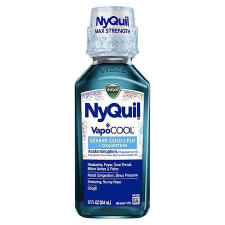Vicks Nyquil Severe VapoCool Nighttime Cough, Cold and Flu Relief - 12 fl oz