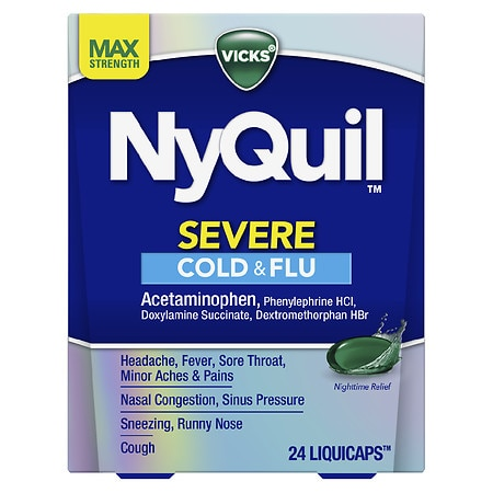 Vicks Nyquil Severe Cough, Cold & Flu Nighttime Relief LiquiCaps - 24 ea