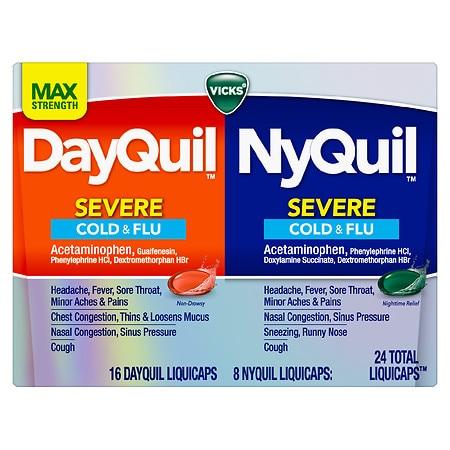 Vicks Dayquil Nyquil Severe Cough, Cold & Flu Relief LiquiCaps Convenience Pack - 24.0 ea