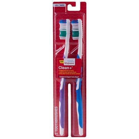 Walgreens SmartGrip Full Head Toothbrush, Medium Bristles - 2 ea