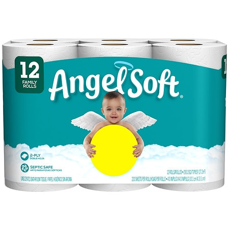 Angel Soft Toilet Paper Family Rolls - 220 ea x 12 pack