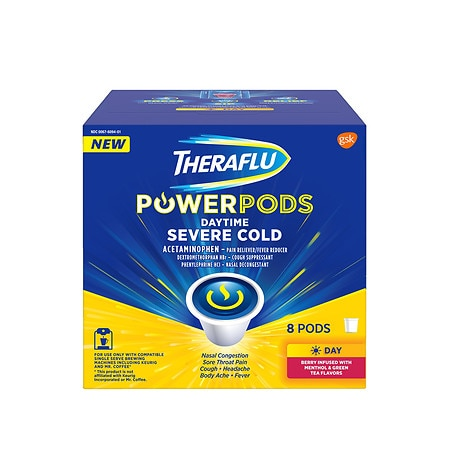 TheraFlu PowerPods Daytime Severe Cold Medicine Berry - 8 ea