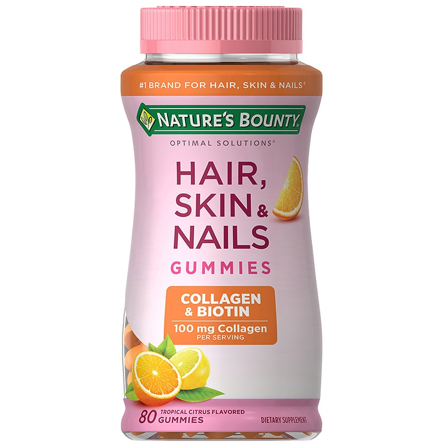 Nature's Bounty Optimal Solutions Hair Skin & Nails with Biotin & Collagen Gummies Tropical Citrus80ea