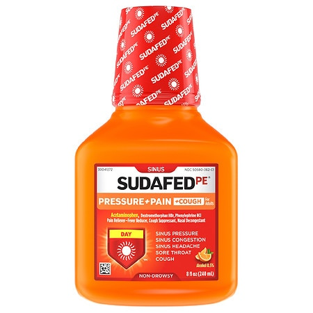 Sudafed PE Pressure + Pain + Cough, Sinus Relief Orange - 8 fl oz