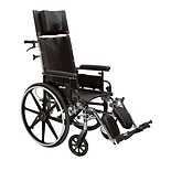 Drive Medical Viper Plus GT Full Reclining Wheelchair, Detachable Full Arms 16 inch Seat Black