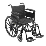 Drive Medical Cruiser X4 Dual Axle Wheelchair with Adjustable Detachable Full Arms 16 inch Seat Silver Vein