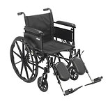 Drive Medical Cruiser X4 Dual Axle Wheelchair with Adjustable Full Arms, Elevating Leg Rests 18 inch Seat Silver Vein