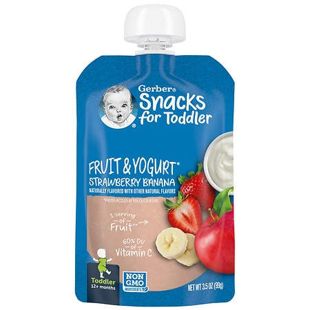 Gerber Toddler Pouch Fruit & Yogurt Strawberry Banana - 3.5 oz.