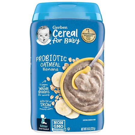 Gerber 2nd Foods Probiotic Baby Cereal Oatmeal Banana - 8 oz.