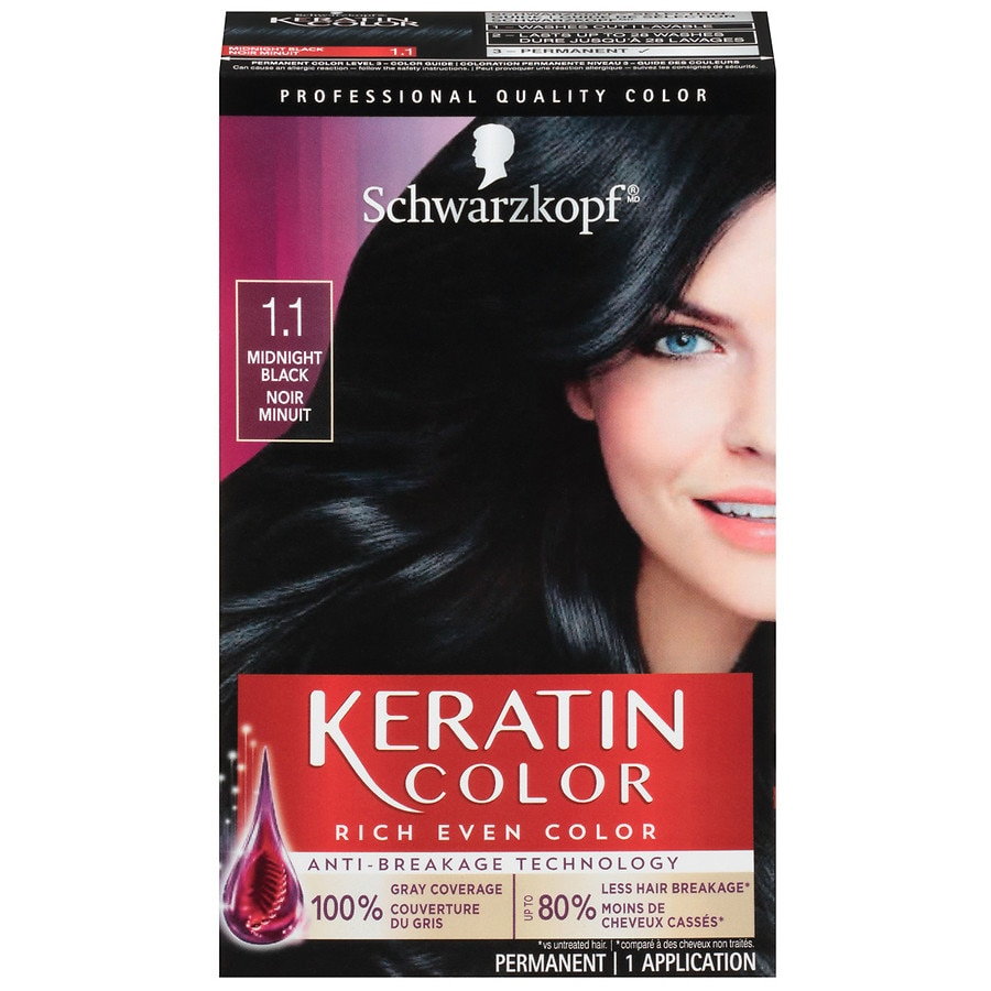 Keratin Color Permanent Hair Dye Kit Midnight Black 1 1 Walgreens