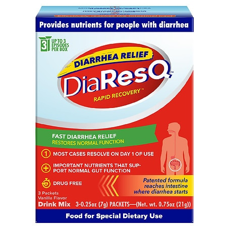 DiaResQ Rapid Recovery Diarrhea Relief Adults Ages 12 Years & Up Vanilla - 0.25 oz. x 3 pack