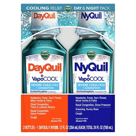 Vicks Dayquil Nyquil Severe with Vicks VapoCOOL Cough, Cold and Flu Relief Liquid - 24 fl oz x 2 pack