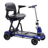 Drive Medical ZooMe Flex Ultra Compact Folding Travel 4 Wheel Scooter Blue