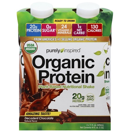 Purely Inspired Organic Protein Shakes Decadent Chocolate - 11 oz. x 4 pack