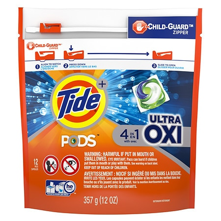 Tide Pods Ultra Oxi Liquid Detergent Pacs - 1 oz. x 12 pack
