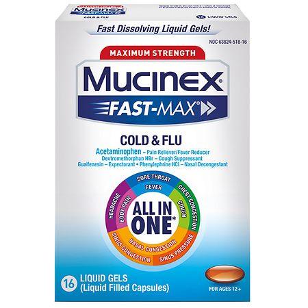Mucinex Fast-Max Cold & Flu Liquid Gels - 16 ea